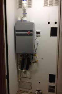 Completed Installation of Tankless Water Heater Replacement